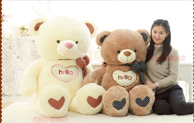 The lovely bow Teddy bear doll heart hello bear plush toy doll birthday gift white about 130cm new cute plush brown teddy bear toy pink heart and bow bear doll gift about 70cm