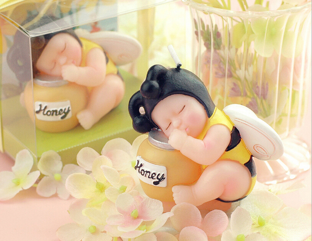 10pcs Honey Bee Baby Candle Wedding Baby Shower Birthday Souvenirs