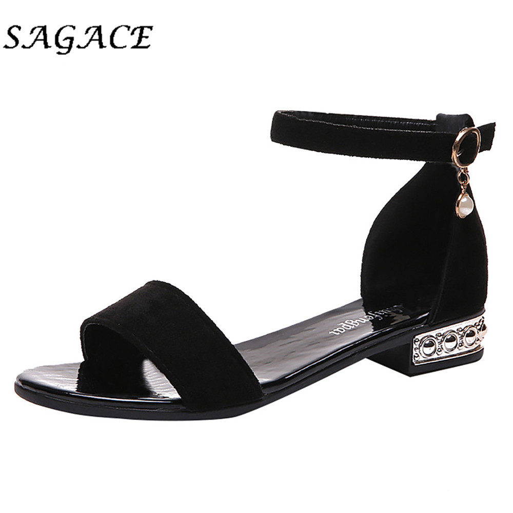 SAGACE Buckle Sandals Flock-Shoes Square Heel Rubber Low-Heels Women Ladies Pumps title=