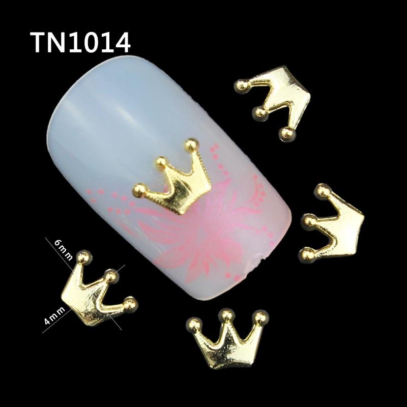 Blueness 10 Unids / pack Nail Rhinestone Corona de Oro Entera 3D Nail - Arte de uñas - foto 1
