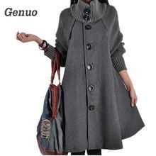 2018 Long Female Jacket Overcoat Cloak Windbreaker Loose Winter Wool Coat Women Autumn Manteau Femme Hiver Cape Warm Genuo