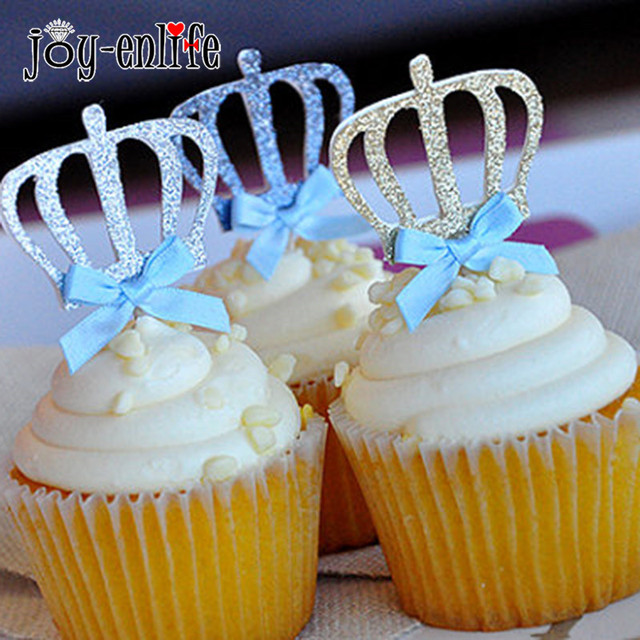 joy enlife 10pcs shiny royal crown cupcake cake toppers 1st birthday