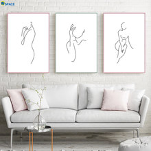 Abstract Line nude Body Art Prints Modern Wall Art Canvas Painting Nordic Poster And Prints Wall Pictures For Living Room Decor(China)