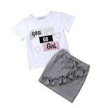 купить Girls Clothes Summer Clothing Set for Cute Little Girls Short Sleeve T-shirt Mini Skirt Clothing Set for Baby Girl Kids Clothes дешево