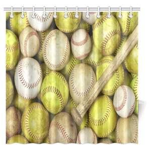 Aplysia Sports Decor Shower Curtain Baseballs Bathroom Set