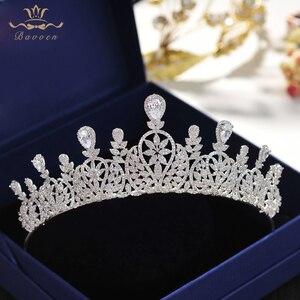 Image 5 - Bavoen ファッション cz クリスタルの花嫁クラウンティアラプリンセス花嫁のための結婚式のヘアアクセサリーイブニング髪の宝石