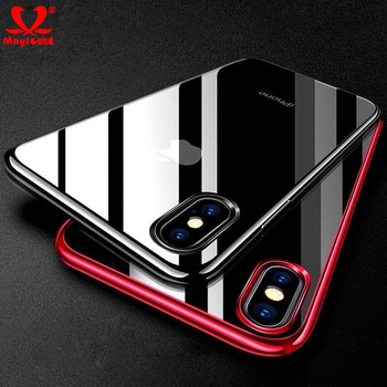 Mayround Silicone Case For iPhone XS Max XR Hybrid Clear View Chrome Plating Shockproof Phone Cases Covers for iPhone XS iPhone XS