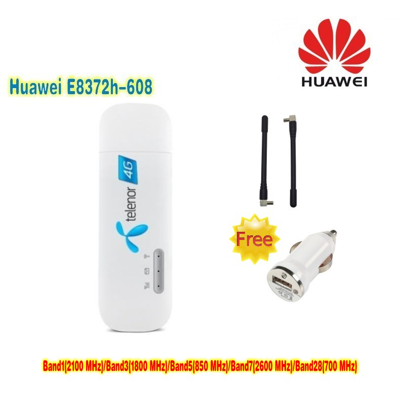New Arrival Unlocked Original 150Mbps HUAWEI E8372h-608 4G LTE Modem WiFi Router +2pcs antenna+ car charger цена и фото