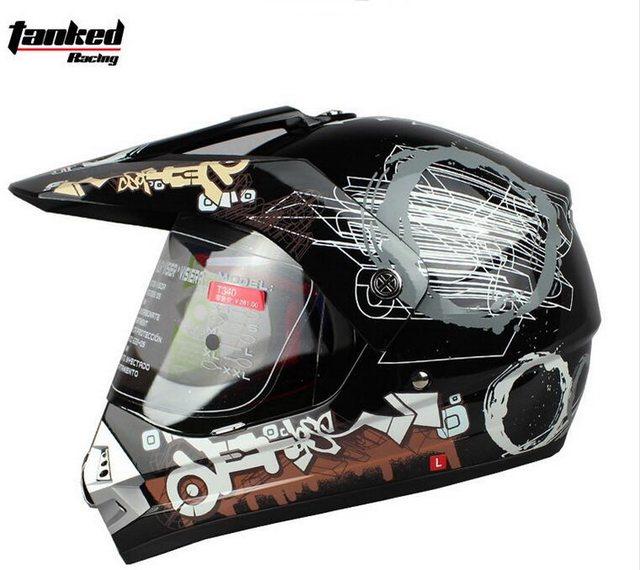 2018 Autumn Winter New Tanked Racing Off Road Motorcycle Helmet T340 Motorcross Motorbike Helmets Made Of Abs With Pc Lens Visor