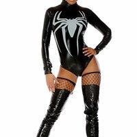 Cadılar bayramı Masquerade Yeni Siyah Kadın Örümcek Adam Cosplay Kostümleri Masquerade Seksi Örümcek Adam Rol Oynamak Tulum toptan