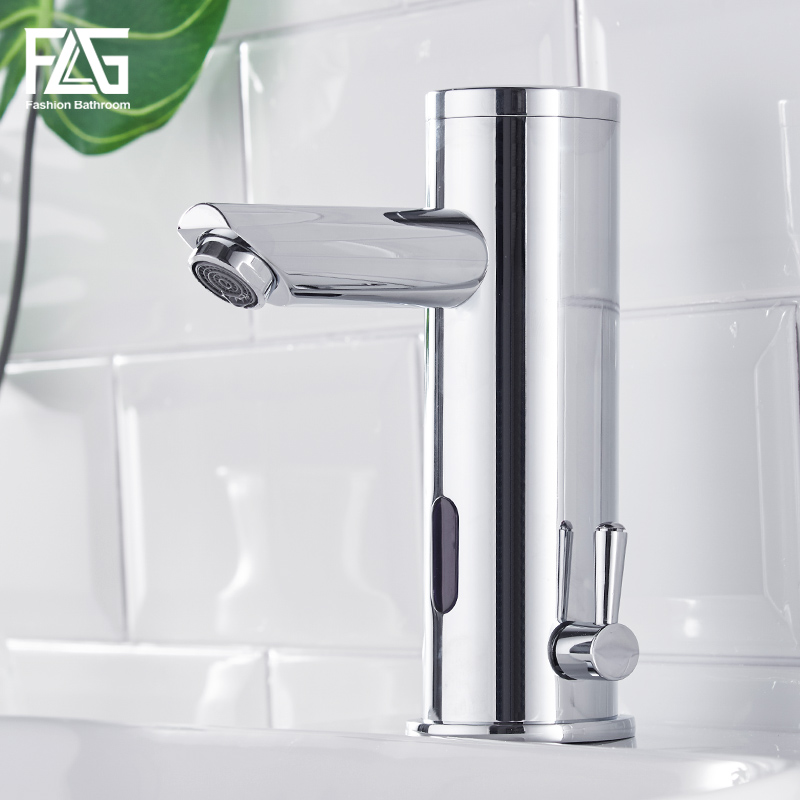 Sensor Faucet Bathroom Basin Faucets Automatic Inflrared Touch Tap with Sensor Hot Cold Mixer Chrome Polished Sink Mixer Taps 100% copper cold and hot water mixer sense faucet automatic sensor faucets basin hand washer dc6v ac110 220v dona4215