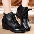 Женщины натуральная кожа квартиры обувь женская мода высота увеличение плоские туфли дышащий ультра легкие плоские туфли ботинки женщин 36k2