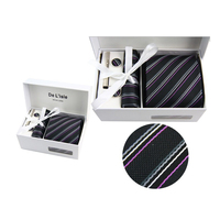 Men's Ties Set Hankie Cufflink Polyester Plaid Striped De lisle Formal Commercial Interview Neck Tie with Gift Box Packing 17
