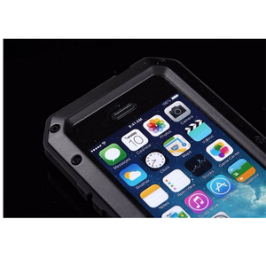 Image 5 - עמיד למים עמיד הלם טלפון מקרי iphone7 7p 6 6s 5 5S 5SE 4S מתכת אלומיניום כפול להגן על מוקשח מקרה כיסוי + מזג זכוכית