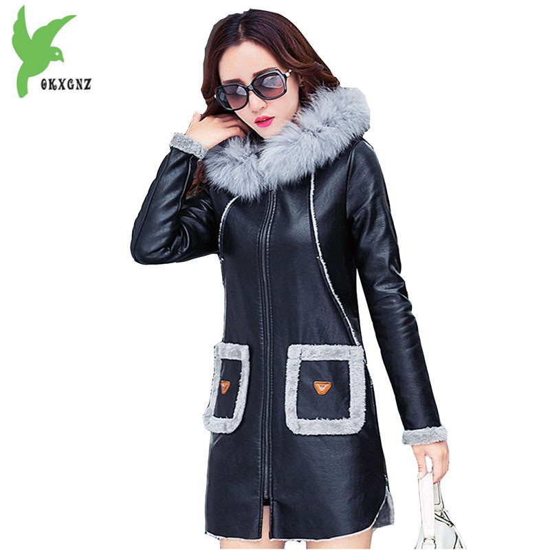 Winter Faux   Leather   Women Jackets Hooded Fur Collar Coat Fashion Boutique Flocking Medium Length Plus Size Slim Outerwear OKXGNZ