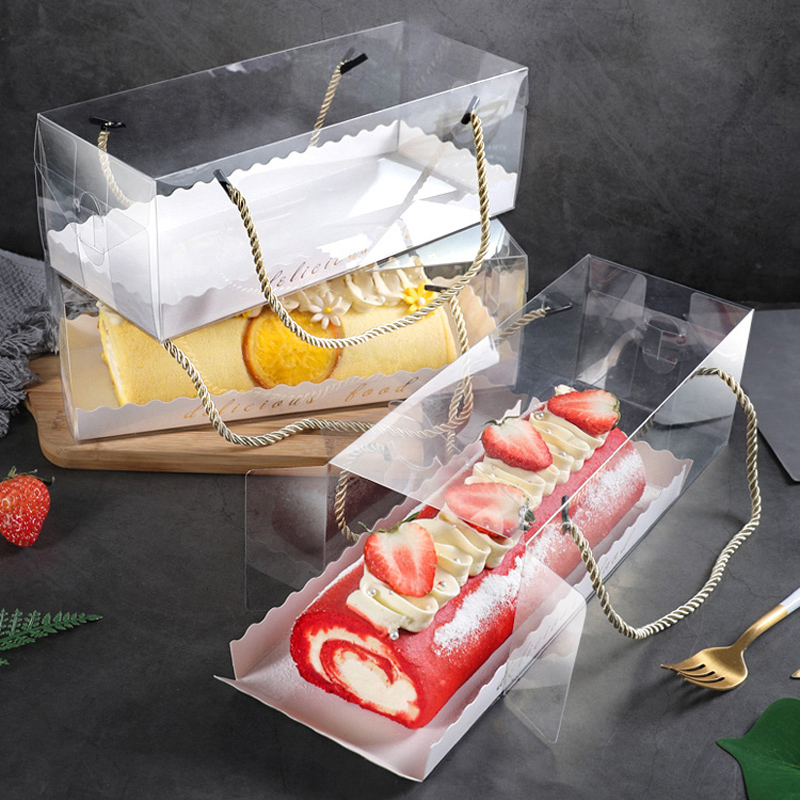 5pcs Clear Long Plastic Cake Box For Swiss Roll Portable Packaging Cake Box Towel Rol Gift Boxes Towel Roll Storage Organizer