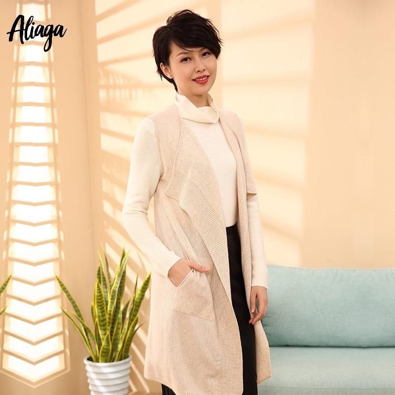 2019 корейские стили 100% из чистого кашемира открытым кардиган безрукавка Повседневное Вязание длинный женский кардиган верхняя одежда на ос