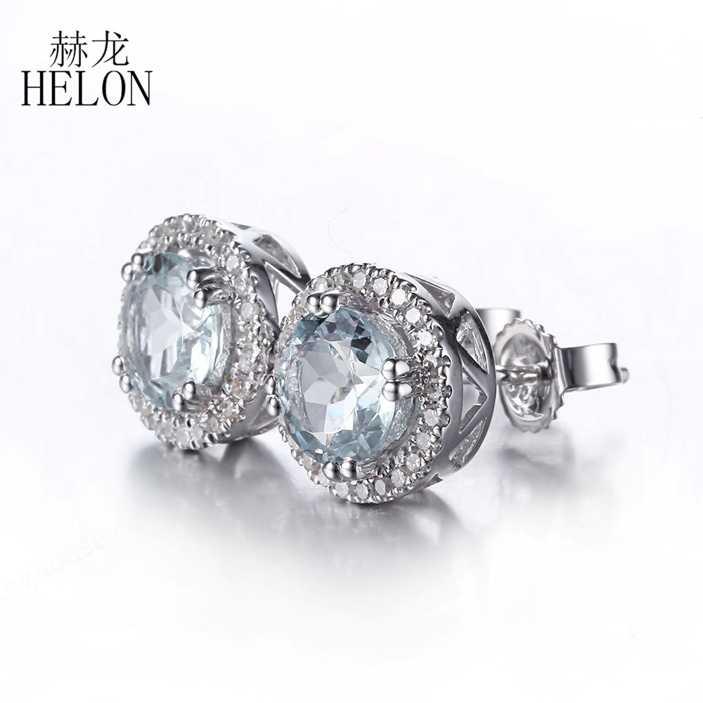 silver jewelry for genuine hutang fancy hoop women earrings gems aquamarine sterling pin