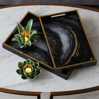 European Retro Wooden Agate Stone Glass Storage Tray Decorative Tray Decoration Home Soft Decorations