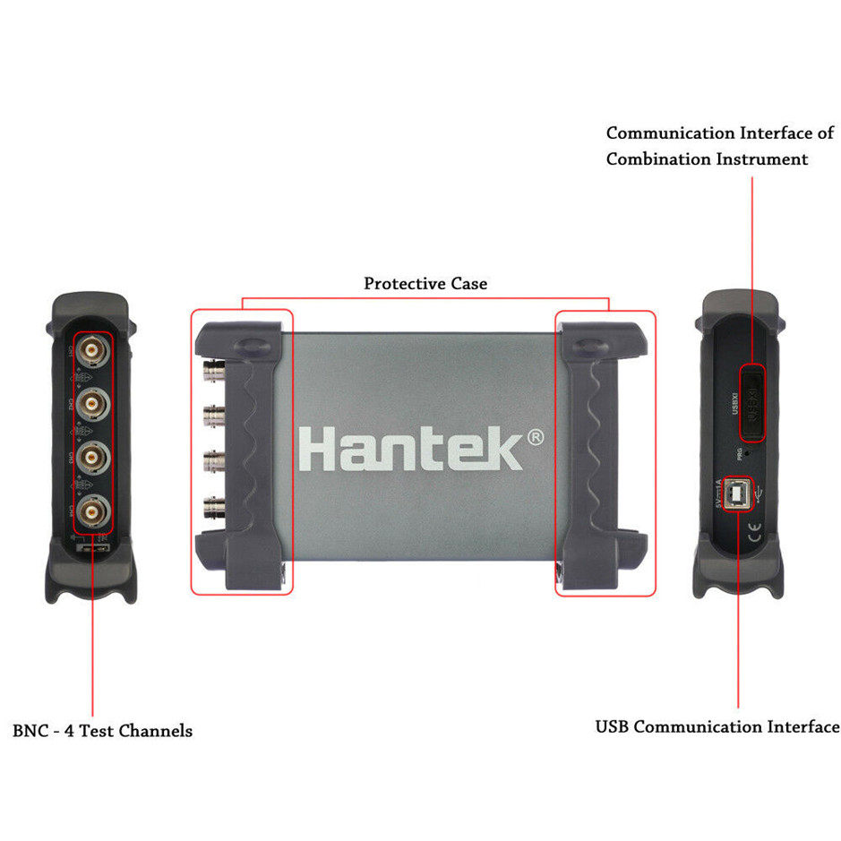 Hantek Automotive Oscilloscope 6204BE 4Channels 200Mhz Handheld Portable Oscilloscopes USB PC image