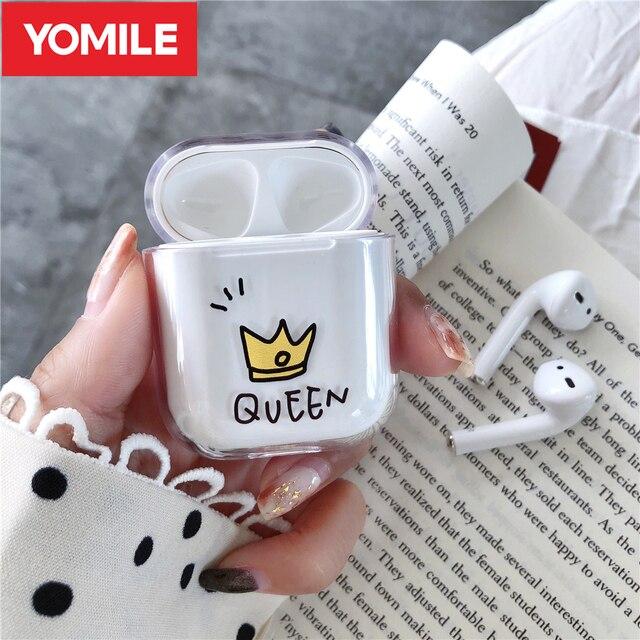 Прозрачные Жесткие чехлы для Apple Airpods, беспроводные Bluetooth наушники, милые Мультяшные, King Queen, прозрачные парные Чехлы Air Pods, наушники