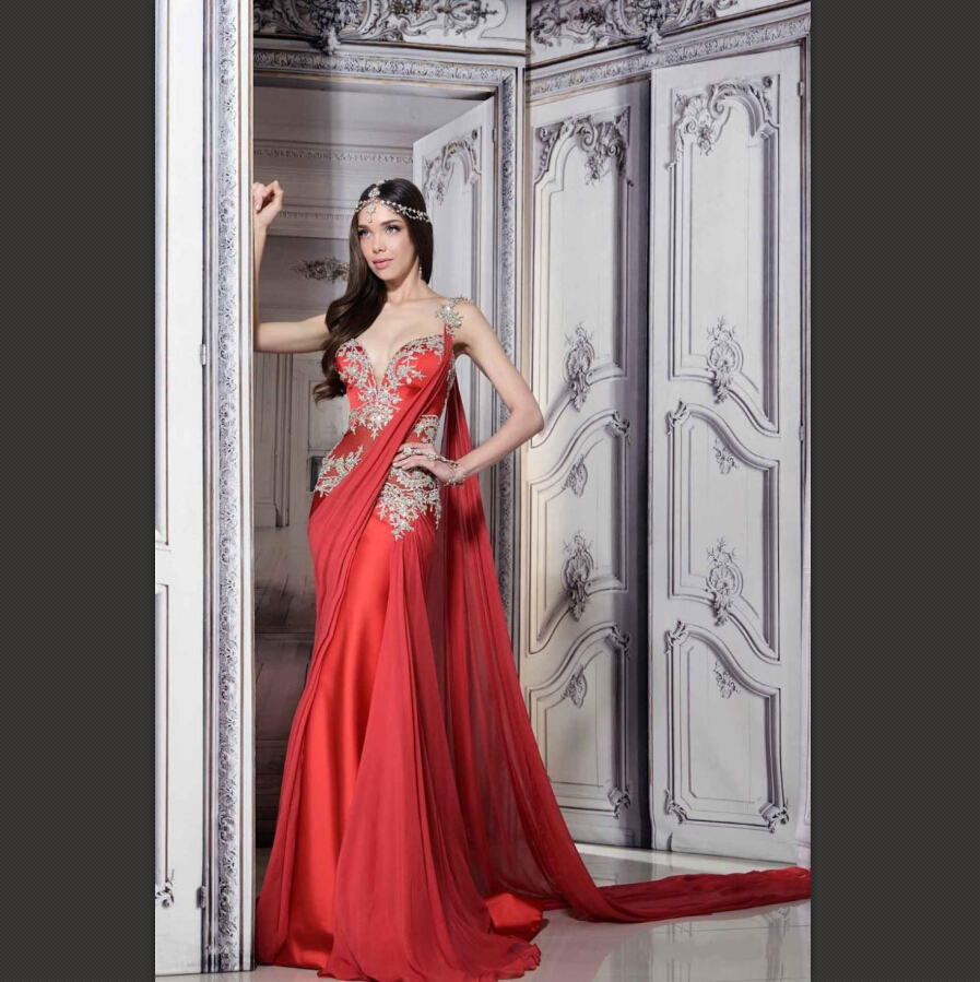 Romantic Robe De Mariage Sweetheart Lace Mermaid Spaghetti Strap Red Taffeta Indian Saree Plus Size evening dress prom dress