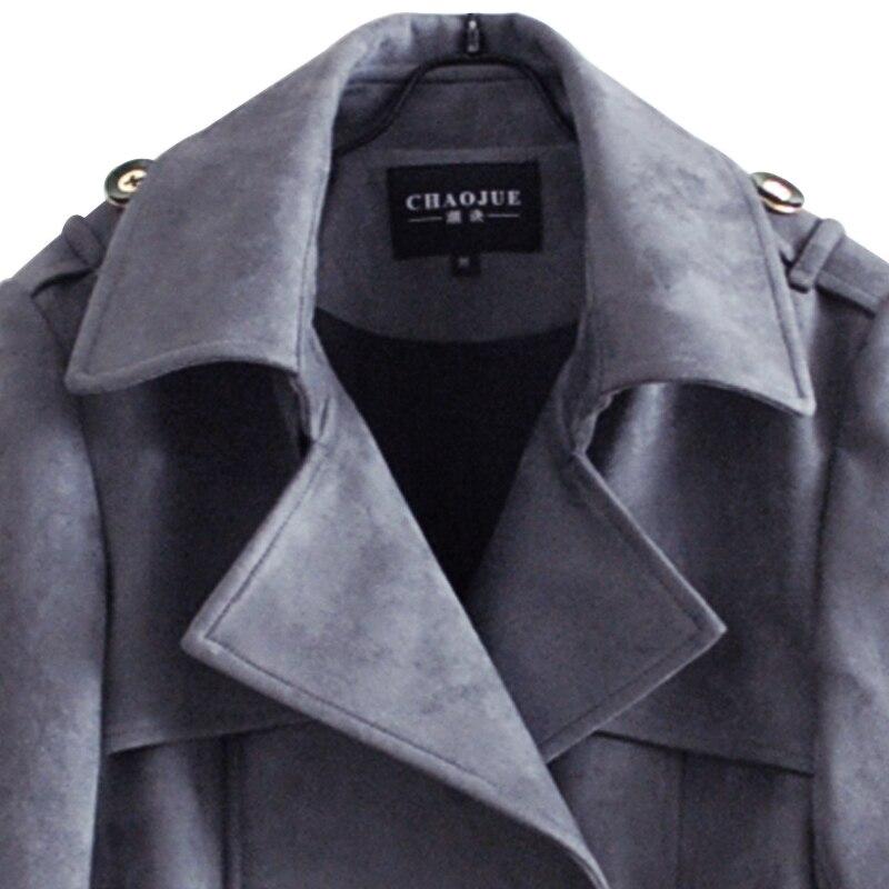 army Design Pour 2018 Mince Lady Femmes Automne Long Tranchée Plus Outwear Pardessus Extra gray Manteau Green Black La Chaojue hiver Office Marque Taille Nouveau Daim wgcf8