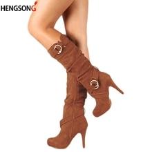 Женские ботинки; сезон осень-зима; обтягивающие высокие сапоги до бедра; Новинка года; модные сапоги до середины икры на тонком высоком каблуке; женская обувь; Botas