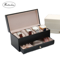 New Style Leather Jewelry box Watch And Earrings Storage Caske't Man and woman jewelry display Best Gift Box For Birthday