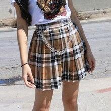 8920608a9 Omighty pleated skirts metal chain zipper cute school skirt 2018 summer  sexy women A-line