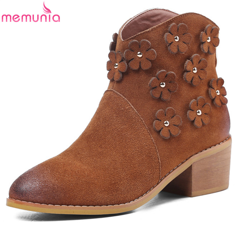 MEMUNIA black apricot fashion women boots round toe zipper cow suede ladies boots square heel leather ankle boots memunia fashion women boots round toe ladies genuine leather boots square heel zipper cow leather wool keep warm mid calf boots