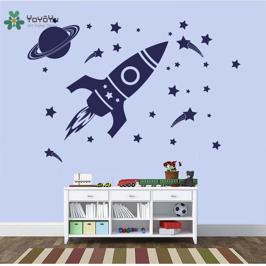 YOYOYU Vinyl Wall Decal Rocket Outer Space Planet Star Shooting Funny Kids Room Removable Home Decoration Stickers FD383 in Wall Stickers from Home Garden