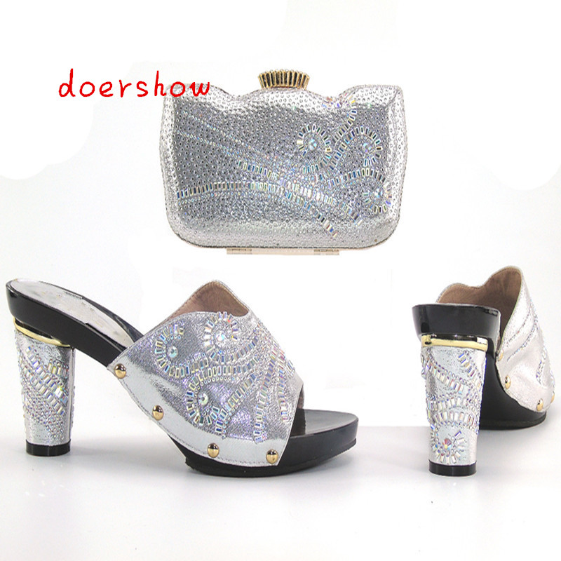 doershowFashion Italian Shoes with Matching bags For Party african Shoes And Bags Set for Wedding shoe and bag set women Hlu1-22 italian shoes with matching bags set for