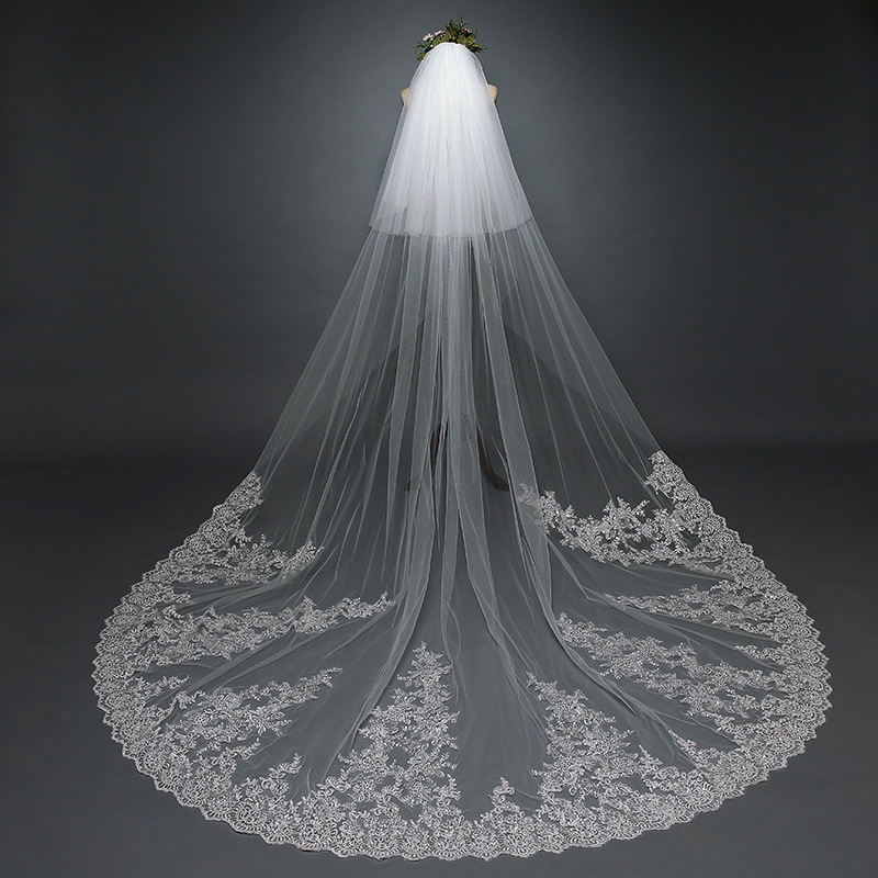 2 Tier Lace Cathedral Wedding Veil With Comb Sequins Bridal Veils