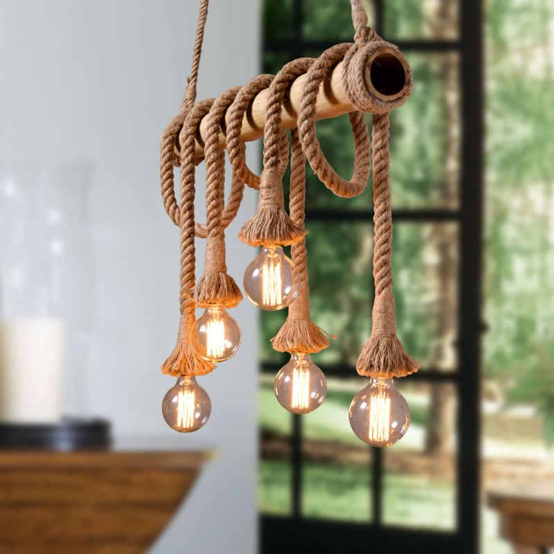 Винтажная пеньковая веревка Подвесные светильники пеньковая веревка винтажный Ретро Лофт светильник подвесной промышленного назначения для гостиной кухни домашнего освещения