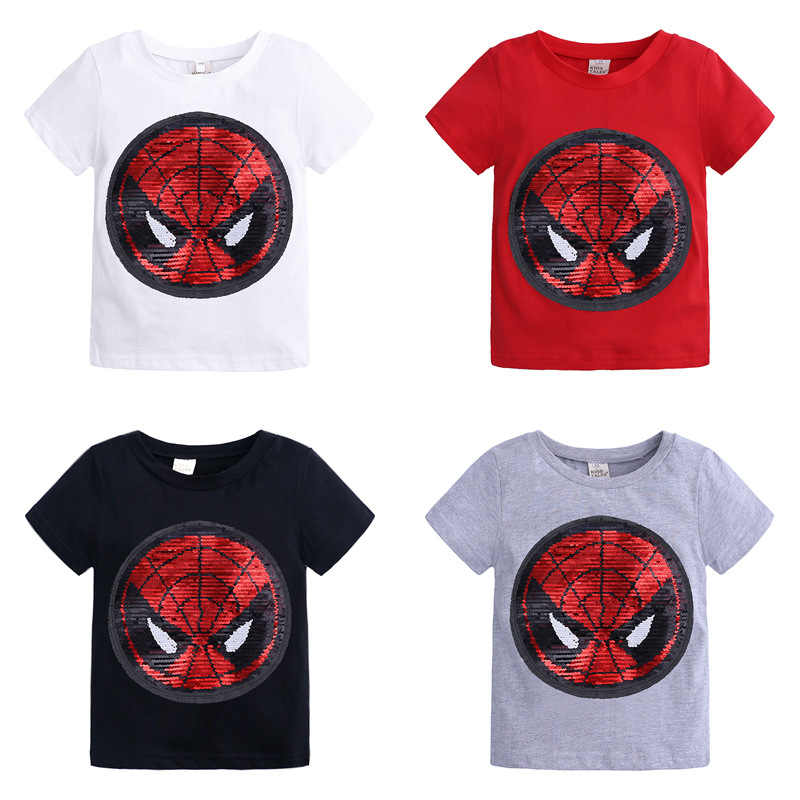e1221b3cd3 Summer Boys T shirts Changing Color Spiderman Captain America ...