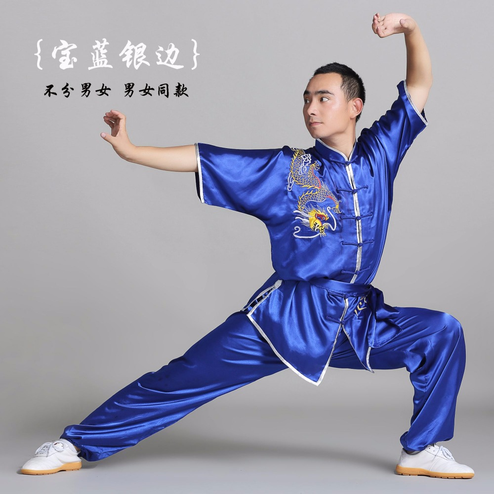 Good quality Tai chi clothing cotton spring and summer clothing female Taichi morning suit leotard cotton male Wushu Performance