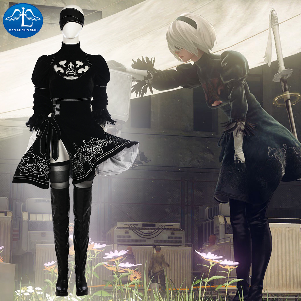 Hot Console Game character 2B Cosplay Costume Women Nier Automata Cosplay Dress For Women Full Set With Boots Custom Made