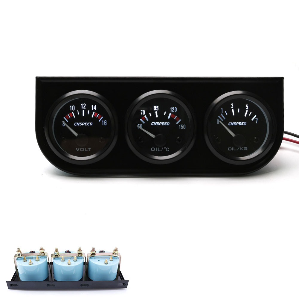 CNSPEED 52mm 12V Auto Triple Gauge Kit olie Temp Gauge Voltmeter - Bilreservedele - Foto 2