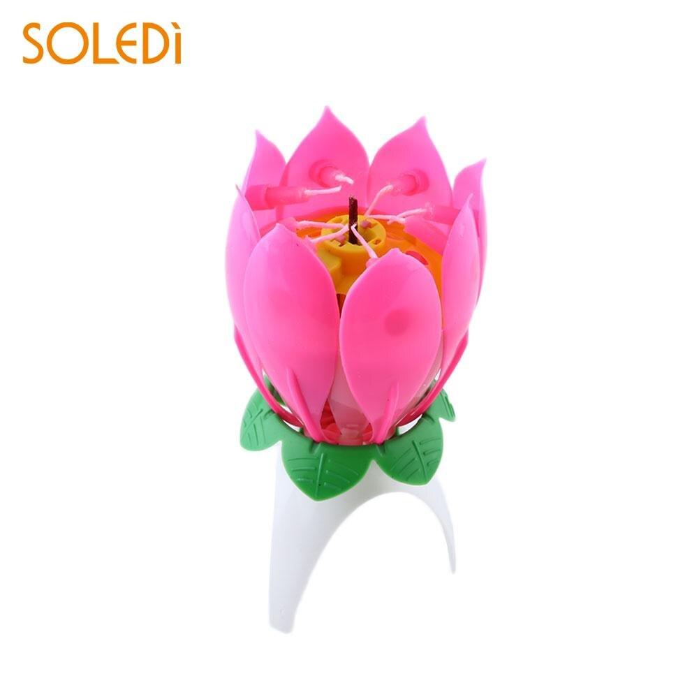Soledi 10pcs Romantic Musical Candle Lotus Flower Birthday Candle
