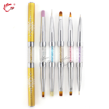 TP Double Size Nylon Kolinsky Hair UV Gel Nail Art Acrylic Painting Brush Pen Rhinestone Metal Handle Manicure Tool