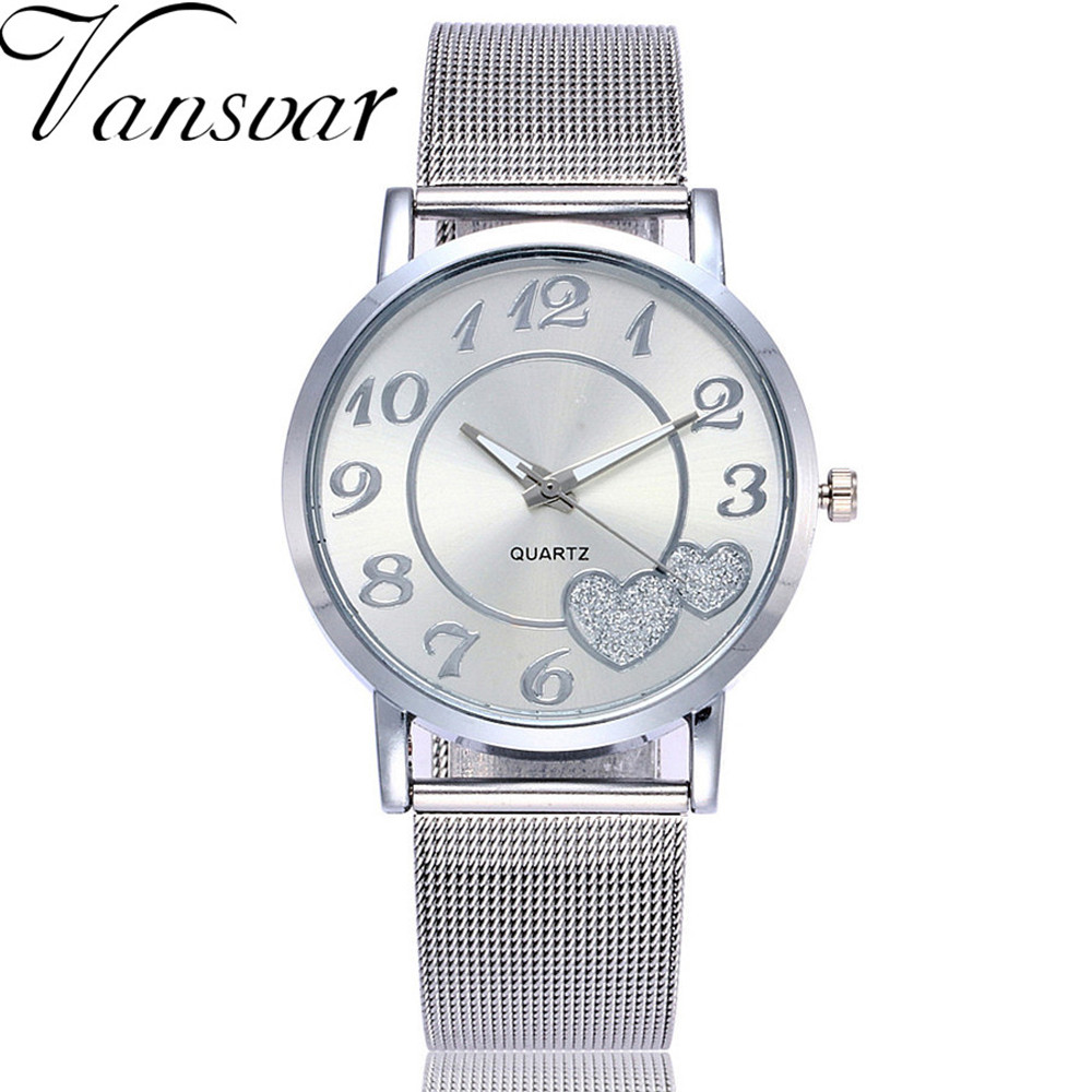 Dropshipping Women Silver & Gold Love Heart Dial Wristwatches Fashion Luxury Women's Steel Quartz Watches Relogio Feminino Hot