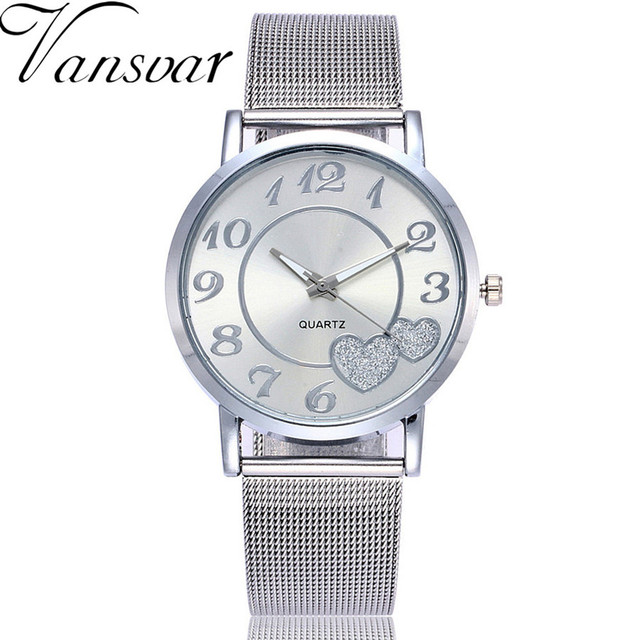 Dropshipping Women Silver & Gold Love Heart Dial Wristwatches Fashion Luxury Wom