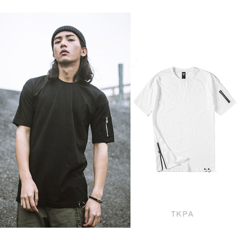 Men Tshirt Summer clothing Printed zipper Streetwear brand design tees Skateboard Boys Skate Tshirt Fashion Casual oversized tee