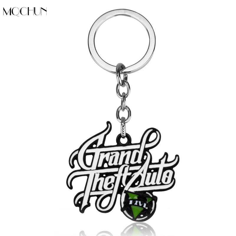 MQCHUN Hot Game Jewelry PS4 GTA 5 Grand Theft Auto V Pendant Keychain Men Car Key Chain Boys Fans Cosplay Christmas Party Gift