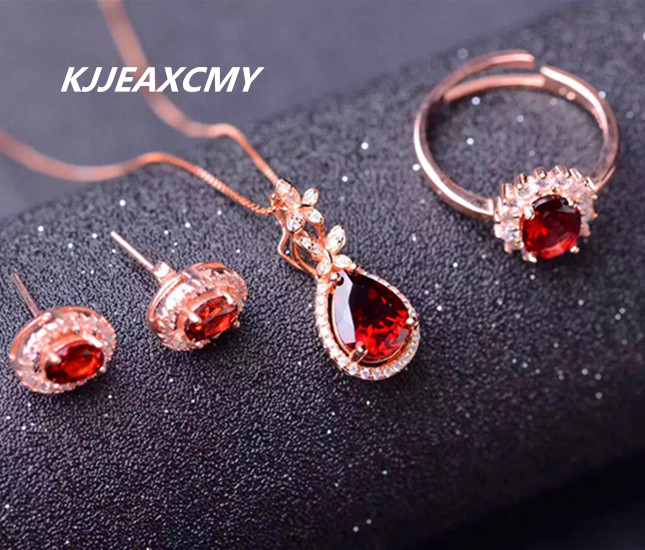 KJJEAXCMY boutique jewelry, pure natural garnet female jewelry set, supporting the identification of 925 sterlin plated 24K gold henry the buttonsmith paula identification set