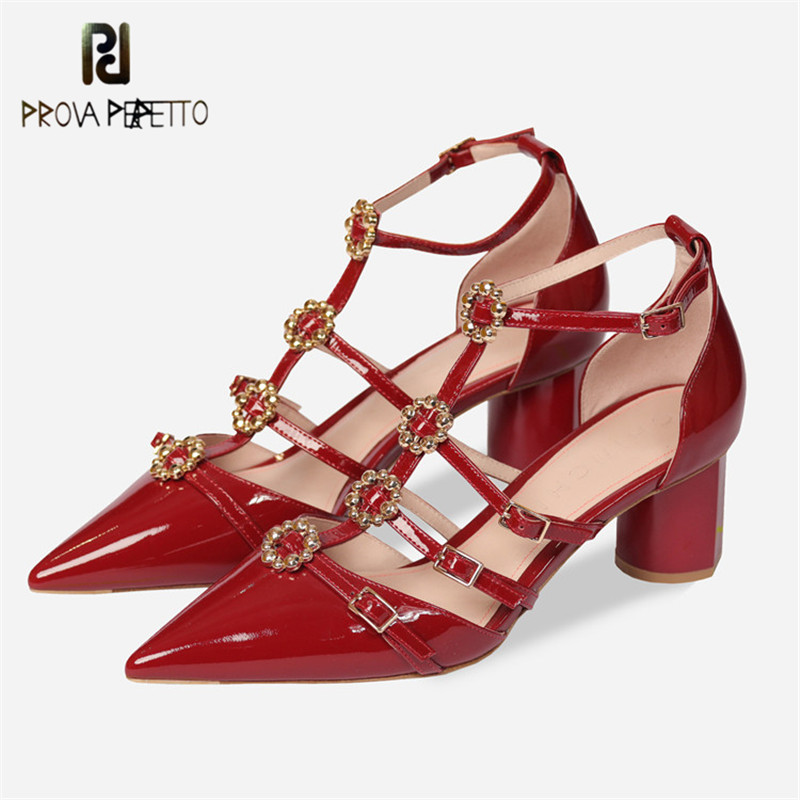 Prova Perfetto New Style Rhinestone Flower Pointed Toe Shoes Woman Ankle Strap Buckle High Heels Pumps Sandals Women Summer Shoe summer new pointed thick chunky high heels closed toe pumps with buckle ankle wraps sweet sandals women pink black gray 34 40