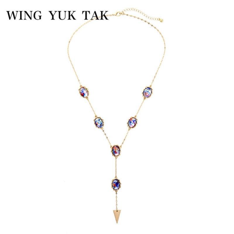 975d537cd323 Wing yuk tak moda Vintage bohemio suéter cadena Collar para mujer  personalizado geométrico acrílico largos collares y colgantes - a.gunasai.me