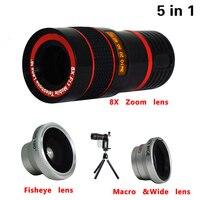 Универсальный 5in1 Камеры Телефона Линзы Комплект 8x Телеобъектив + Рыбий Глаз Широкий Угол макро Lentes Штатив Для Samsung Galaxy S3 4 S5 S6 S7