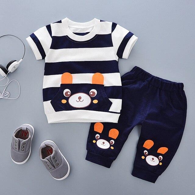 חדש אופנה מותג 100% כותנה קיץ תינוק בני בגדי סט 2 pcs ילדי בגדי חליפת Bebe ילדים קצר שרוול בגדים סט תינוק B